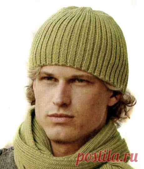 Схема вязания мужской шапки спицами — Подарок Любимому | Вязание Шапок - Модные и Новые Модели