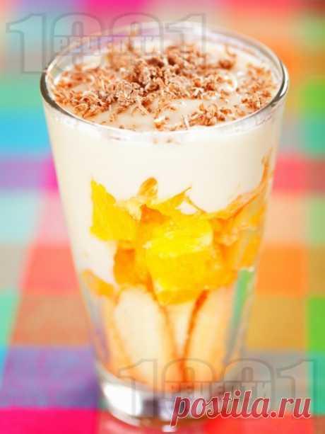 Портокалов десерт с крем ванилия, бишкоти и шоколад в чаша Рецепта за Портокалов десерт с крем ванилия, бишкоти и шоколад в чаша - начин на приготвяне, калории, хранителни факти, подобни рецепти