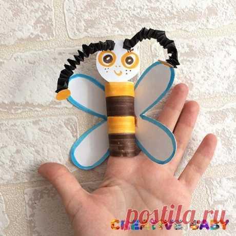 Бумажная пчела - игрушка на пальчик - Ты куда спешишь,пчела? - Извините, ждут дела! Каждый маленький цветочек ждёт меня с утра до ночи О. Конаева Поделка-игрушка, которая отлично подойдет