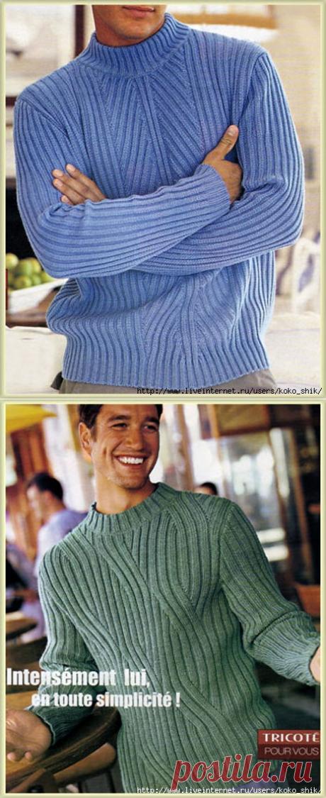 Вязание спицами - Мужчинам - Два шикарных мужских джемпера