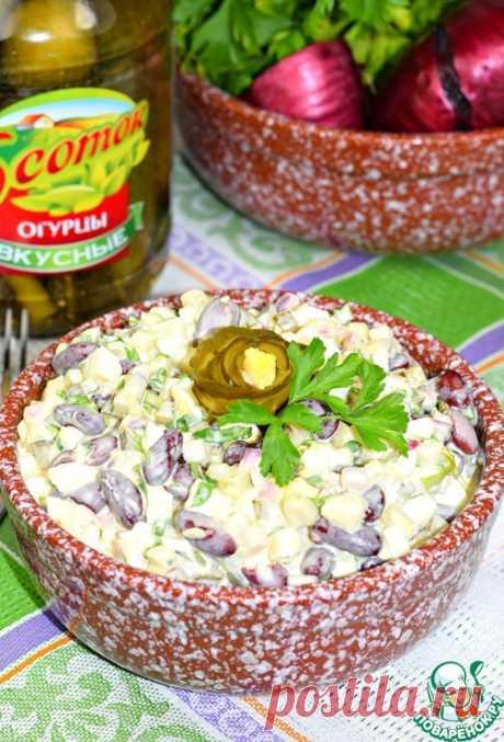 """Салат с фасолью и огурцом """"Пятиминутка"""""""