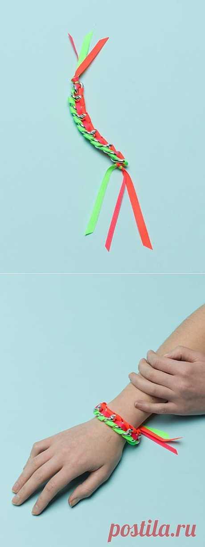Браслет из лент и цепи (мастер-класс) / Украшения и бижутерия / Модный сайт о стильной переделке одежды и интерьера