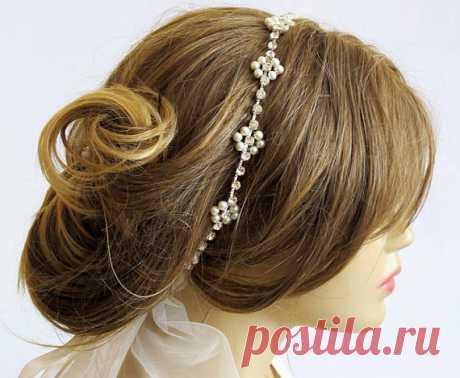 Wedding bridal headband Rhinestone and Pearl hairband by selenayy