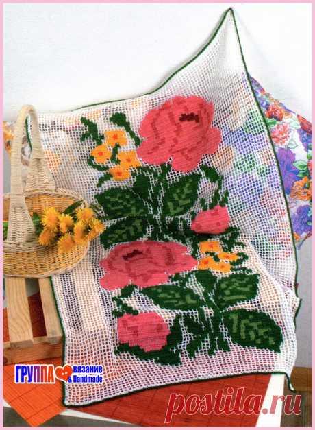 Цветное филейное вязание