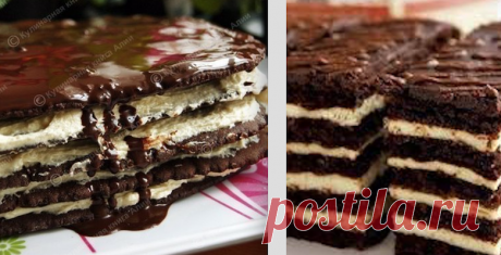 """Cake \""""Spartak\"""" is medovik with a custard and chocolate honey cake layers. Very tasty cake! Also looks elegantly in a section!"""