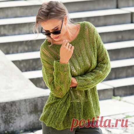 Зеленый джемпер «оверсайз» - схема вязания спицами. Вяжем Джемперы на Verena.ru