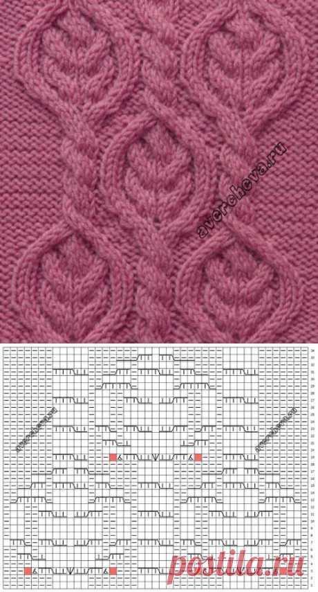 Узор 713 косы в ромбах   каталог вязаных спицами узоров