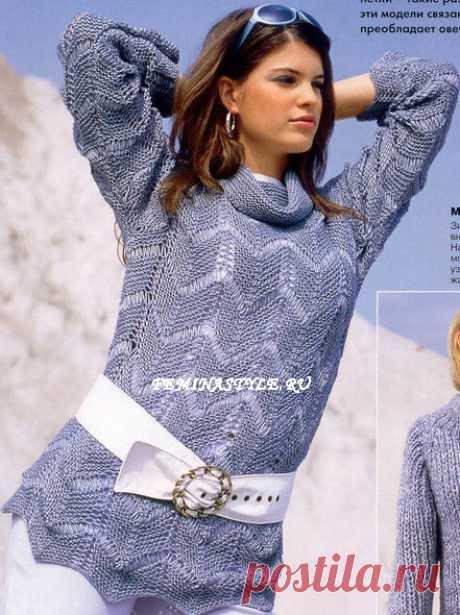 Пуловер с узором из зигзагов, связанный спицами
