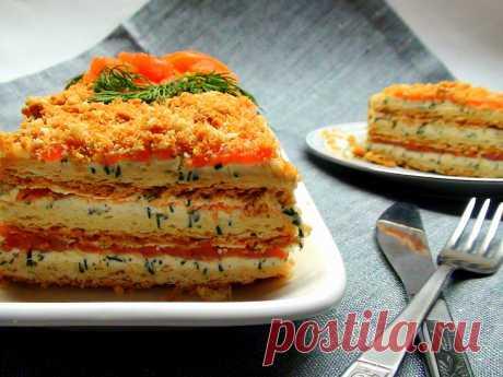 """Закусочный торт- салат """"Наполеон"""" — Sloosh – кулинарные рецепты"""