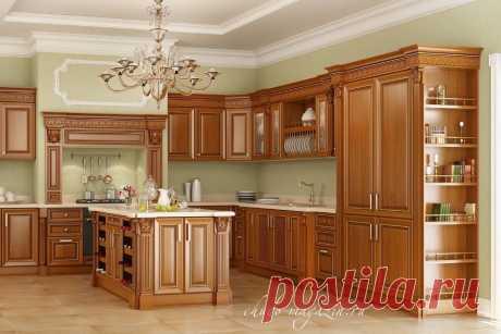 Угловая кухня из массива красной ольхи с островом. В интернет-магазине Chudo-magazin.ru в Москве.