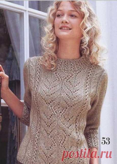 пуловер с листочками