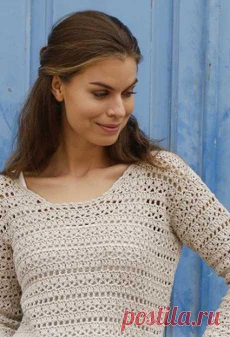 Вязание красивого пуловера крючком