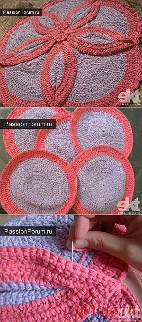 RUG-FLOWER \/ Knitted a hook of accessories \/ PassionForum - master classes in needlework