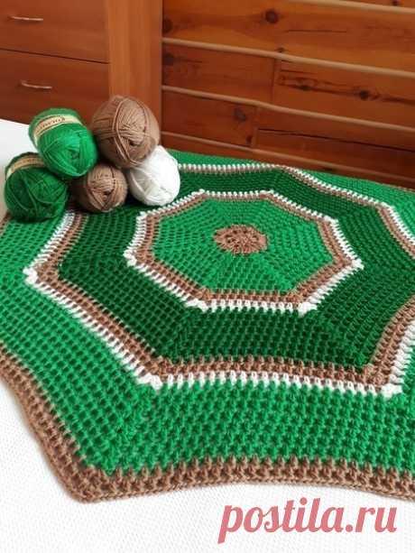 Восьмиугольный коврик крючком. Схема. / knittingideas.ru