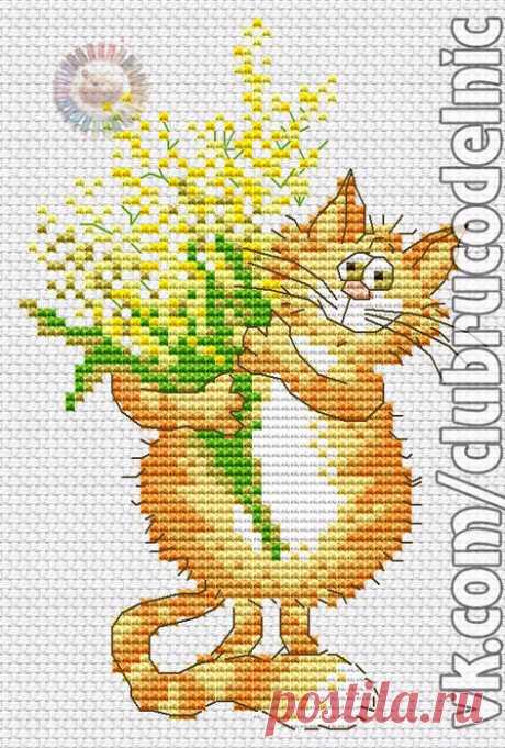 ВЫШИВКА-Кот с букетом