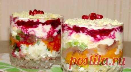 Слоеный салат со скумбрией «Новый год» с необычной подачей! - Все для Вас!