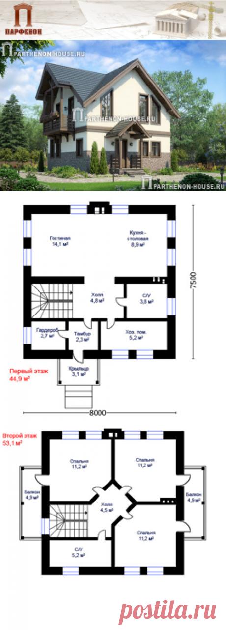 Проект небольшого дома из газобетона с мансардой ПА-84Г  Площадь общая: 84,98 кв.м. + 12,86 м. Высота 1 этажа: 2,940 м. Высота 2 этажа: от 1,800 м. до 3,300 м.   Технология и конструкция: строительство дома из газобетона. Фундамент: монолитная ж/б плита. Стены: газобетон 400 мм + 50 мм утеплителя. Перекрытия дома: монолитные ж/б и по деревянным балкам. Конструкция крыши и кровля: мансардная, покрытие - металлочерепица. Наружная отделка: штукатурка.