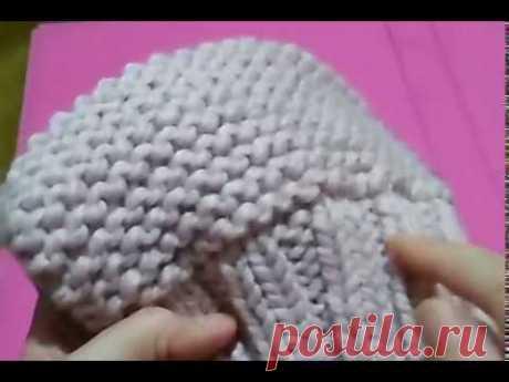 МК по вязанию розовой бесшовной шапочки платочной вязкой и резинкой 2х2. Завершение работы