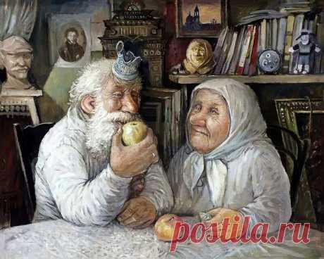 Деревенские старички на картинах Леонида Баранова