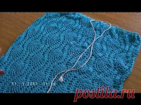 Лёгкая кружевная юбка узором ананас  Крючком