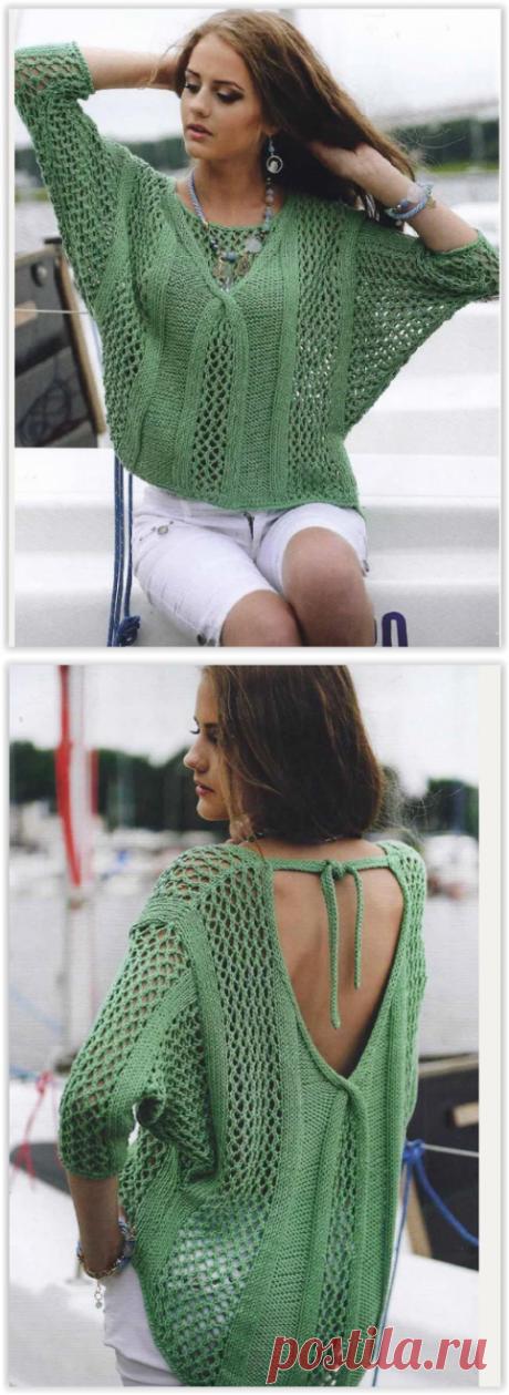 Зелёный ажурный пуловер - превосходная летняя модель спицами