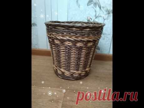 Очаровательная корзина для мусора/ крестики ситцем из газетных трубочек - YouTube