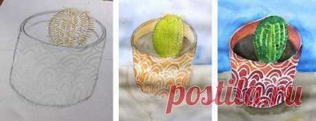 Рисование восковыми мелками и акварелью