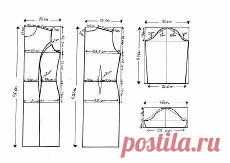Выкройка платья на 50, 52, 54, 56, 58 и 60 размер в натуральную величину