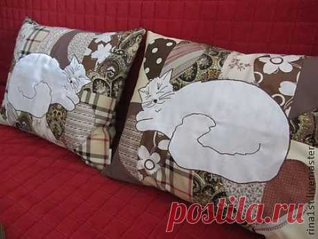 "Подушка ""Спящая кошка"" - кошка,киска,Кошки,кошечка,киса,кот,коты,кошачий"