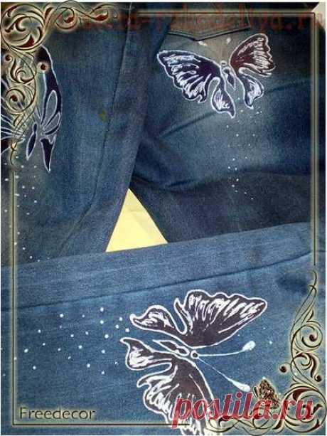 """Мастер-класс по трафаретной росписи по ткани: """"Бабочки носят джинсы"""""""