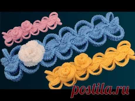 Diadema a Crochet con flores rosas 3D muy fácil de tejer estilo Irlandés tejido tallermanualperu