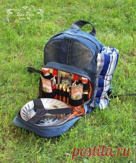 Шьем из джинсовой ткани удобный рюкзак для пикника