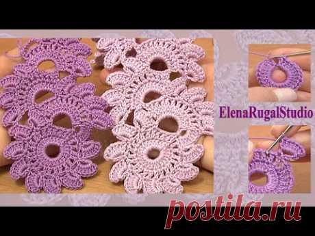 Beautiful Crochet Lace Patterns la Lección 12 Labor de punto de la cinta en la técnica del encaje de cinta