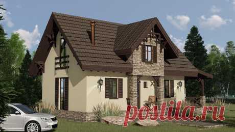ЛЕСНАЯ СКАЗКА 90 м2 - проект 3-комнатного домика 8х10 с пристроенной террасой   Инваполис - проекты домов   Яндекс Дзен