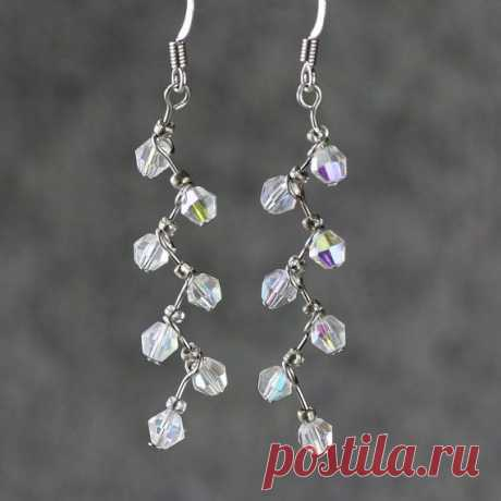 Crystal clear zigzag drop earrings handmade ani by AnniDesignsllc, $12.95