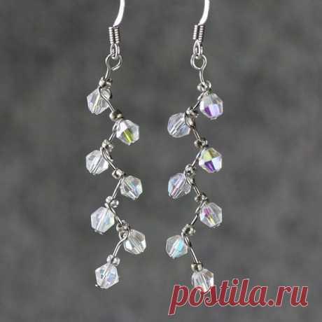 Crystal clear zigzag drop earrings handmade ani by AnniDesignsllc, $12.95