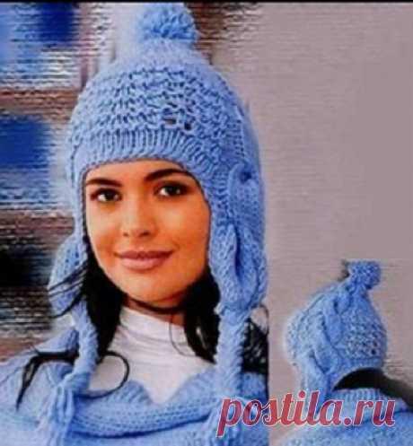 Вязание шапки-ушанки спицами | Шапки спицами