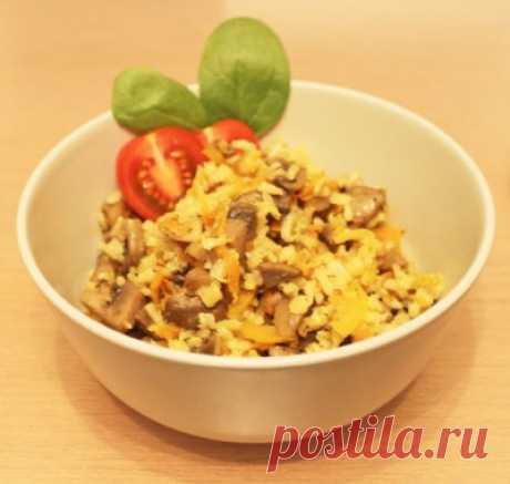 Рис с шампиньонами и болгарским перцем : Вегетарианская и постная кухня