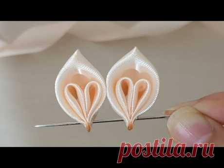 Amazing Ribbon Flower Work - Hand Embroidery Flowers Design - Sewing Hacks - Easy Flower Making - YouTube