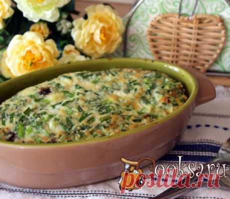 Зеленый омлет с брокколи, шампиньонами и кускусом фото рецепт приготовления
