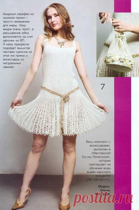 Платье с ажурной юбочкой крючком