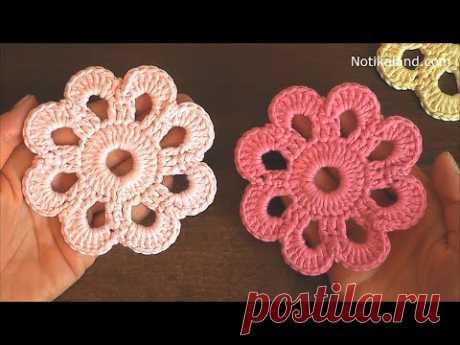 How to crochet EASY for beginners CROCHET Motif Flower Doily Coaster