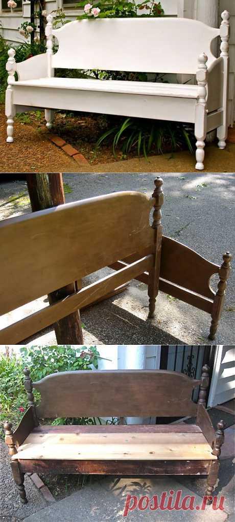 (+1) - Самодельная садовая скамья из спинок кровати. | МАСТЕРА