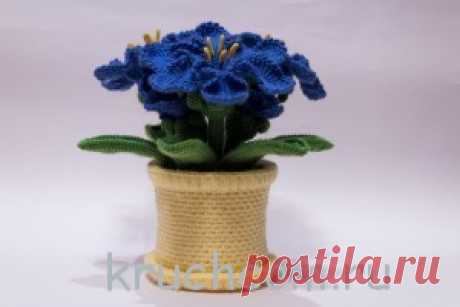 Knitted flowers in a pot a hook. Azure Lilia. | Knitting by a hook, the free scheme, a photo Knitted flowers in a pot a hook. Azure Lilia. Author of work Olga Denisenko. Leaves and a pot from a thin acrylic yarn, a hook No. 1, 75, weight of a finished product 220 gr. (yarn-180 gr.), wire, synthetic winterizer. Height is 23 cm, width on flowers of 20 cm. Leaves — 6 pieces, flowers — 5 pieces. Took idea and inspiration for flowers …