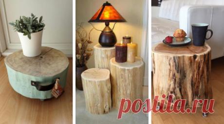 60 оригинальных столиков из стволов и спилов деревьев