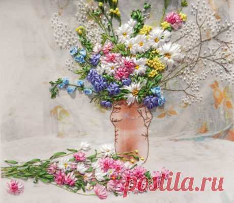 Embroidery Picture Summer Afternoon. Silk ribbons de YakovlevaLena