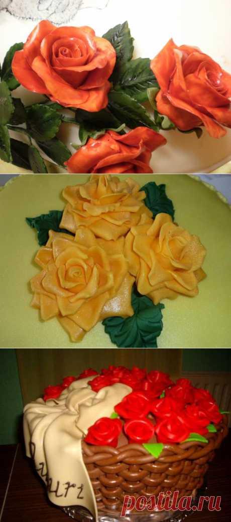 Роза из сахарной мастики. МК и рецепт приготовления мастики.