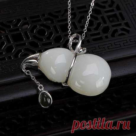 Natural Hetian Jade Gourd Necklace / Vintage Necklace / 925 Silver Inlay Clavicle Necklace / Ladies Sweater Necklace Christmas gifts Product Details:  Material: 925 silver, Hetian jade  color: White  Shape: gourd  Size: Degree: 32 mm.  Necklace length: 410 mm.  Weight: 8.4 grams  Translucent: translucent  Symbol: Good luck to you