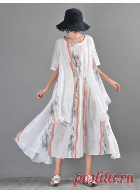 White Linen blend Dress-Round Neck Dress-Short Sleeve | Etsy