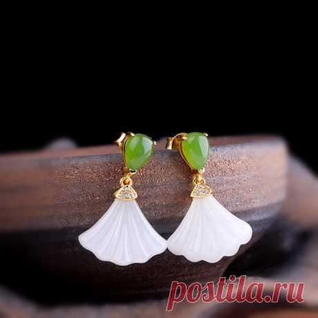 Ginkgo leaf earrings-Jasper Leaf Earrings-Rose gold   Etsy